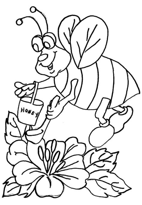 coloring pages of flowers and bees bee and flower coloring pages