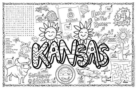 Free Coloring Pages Of State Seal Kansas Kc Colour Pages