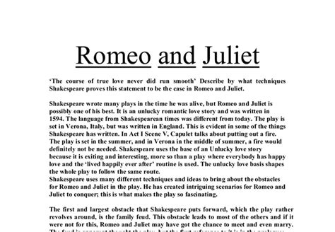 Retiree Resume Sles by Romeo And Juliet Thesis 28 Images Romeo And Juliet