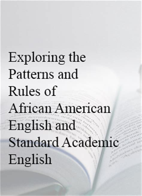 pattern of three english exploring the patterns of african american english