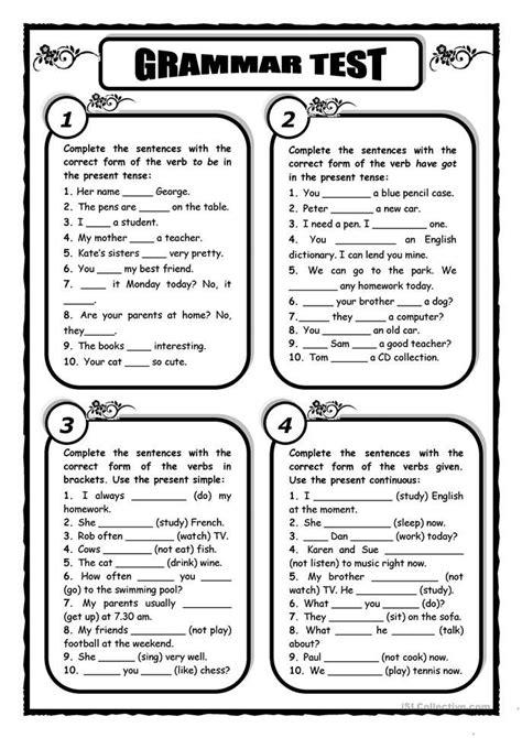 Grammar Test: to be, have got, present simple, present