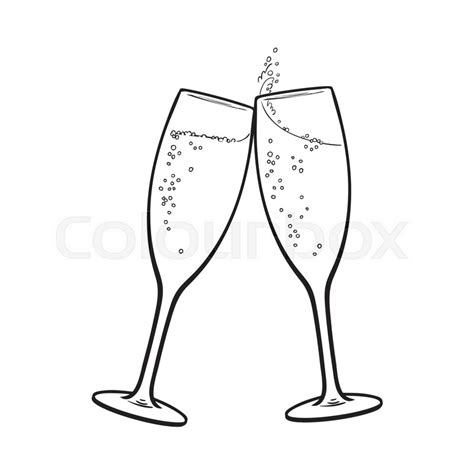 cartoon wine glass cheers pair of chagne glasses set of sketch style vector