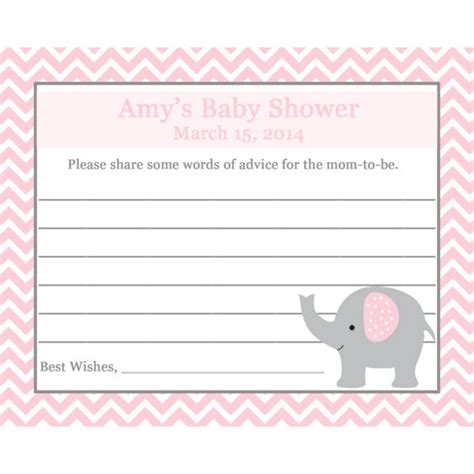 baby advice card template 24 baby shower advice cards elephant pink