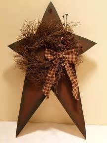 Country Star Decorations Home Star And Wreath Berries Country Primitive Home Decor