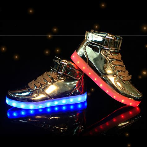 Led Shoes Kets Cewe 37 42 saguaro led luminous sneaker shoes light up womens mens high top gold silver ebay