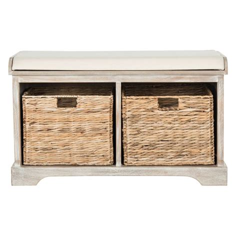 Wicker Storage Bench Safavieh Freddy Wicker Storage Bench In Winter Melody Amh5736g The Home Depot