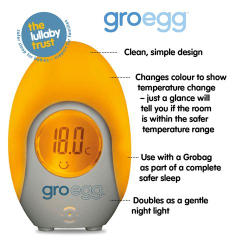 gro egg room light up thermometer baby temperature digital