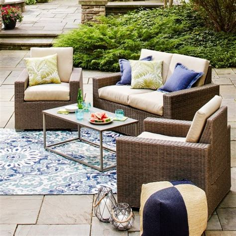threshold wicker patio furniture threshold heatherstone wicker 4 patio con target