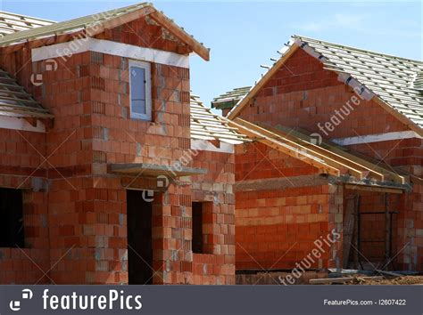 big brick houses residential architecture big brick house under the construction stock picture