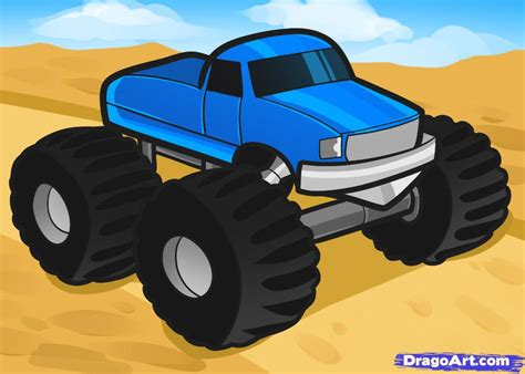How To Draw A Monster Truck For Kids Step By Step Cars