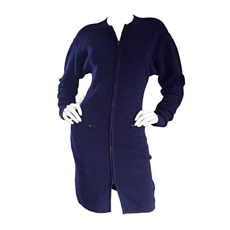 Montana Sweater Dress vintage claude montana navy blue scuba cardigan