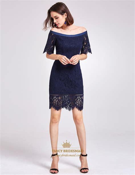 Sleeve Sheath Cocktail Dress navy blue shoulder half sleeve sheath lace