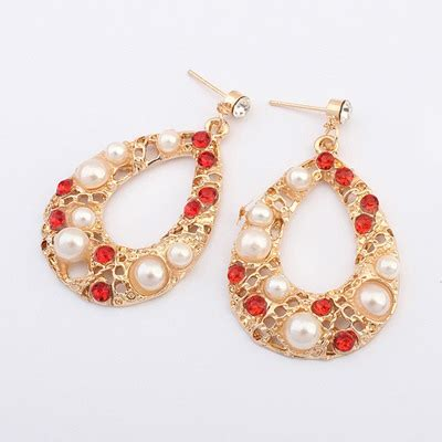 Set Kalung Anting Hollow Out Water Drop Pattern Design bulk white hollow out water drop shape design alloy korean earrings asujewelry