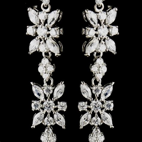 Floral Dangle In 14k With Silver And Clear Cubic Zirconia P 278 antique silver clear floral cz earrings 5215