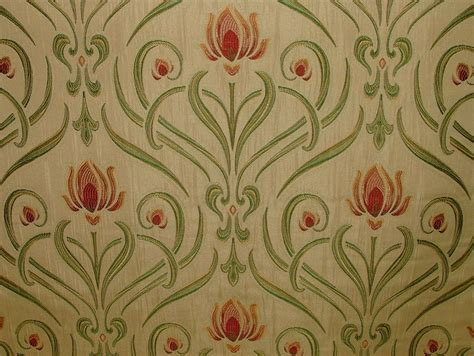 Fabric For Drapes And Upholstery by Nouveau Soft Gold Thick Designer Jacquard