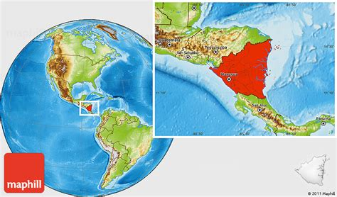 nicaragua location on world map physical location map of nicaragua