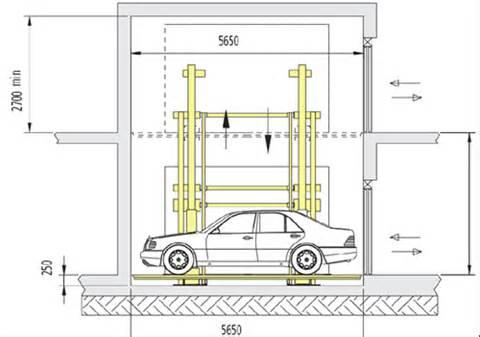 Standard Garage Size boxparking auto lifti ras jumi