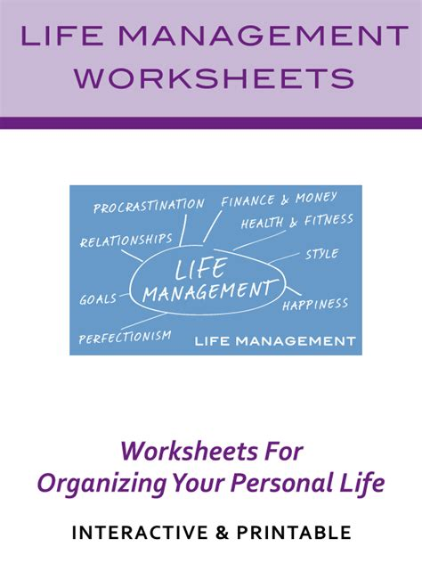Life Management Worksheets   Life Goals & Weekly Goal