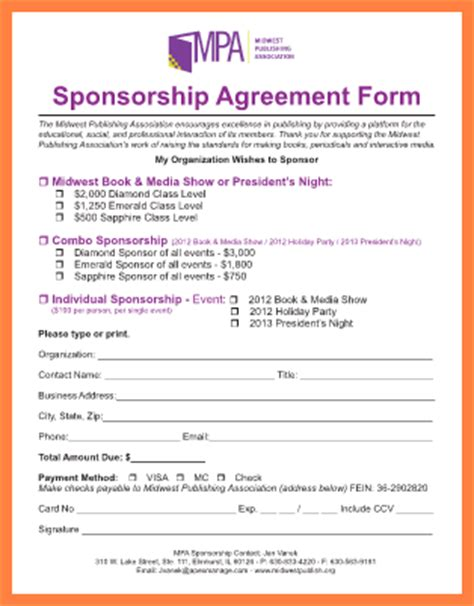non profit sponsorship agreement template 9 non profit sponsorship agreement template purchase