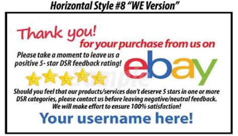 10000 Ds Uv Gloss Ebay Seller Custom 5 Star Dsr Reminder Thank You Cards Ebay Ebay Payment Reminder Template