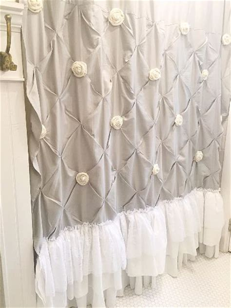 white shabby chic shower curtain with ruffles and custom