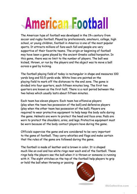 american football worksheet free esl printable