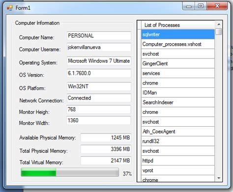 Building Design Program displaying computer information using visual basic net