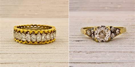 vintage wedding bands and gold and engagement ring