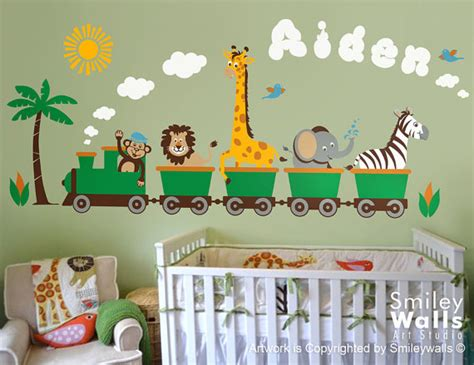 items similar to personalized safari wall decal jungle animals wall decal monkey