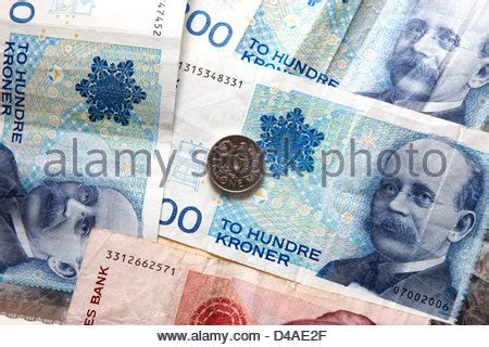currency nok kroner nok paper money and coins stock