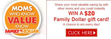 Free 20 Dollar Gift Card - enter to win a 20 family dollar gift card who said nothing in life is free