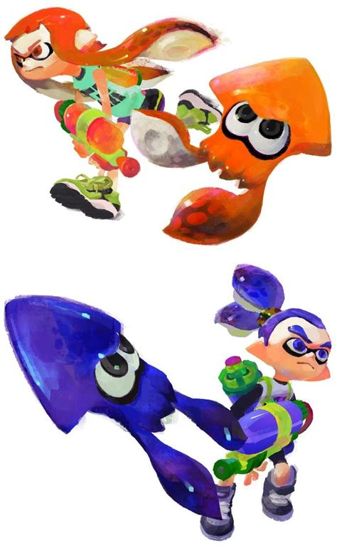 Privia Squid Hair Color 100 Original inkling top and boy bottom in both human and squid forms original artwork from the