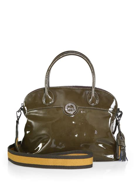 Botkier Vixen Ruched Dome Satchel by Longch Patent Leather Domed Satchel In Lyst