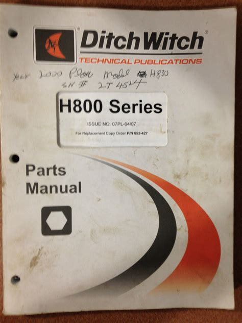 Ditch Witch H800 Series Parts Manual And 50 Similar Items