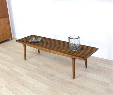slat wood bench solid oiled slat wood bench for sale at 1stdibs