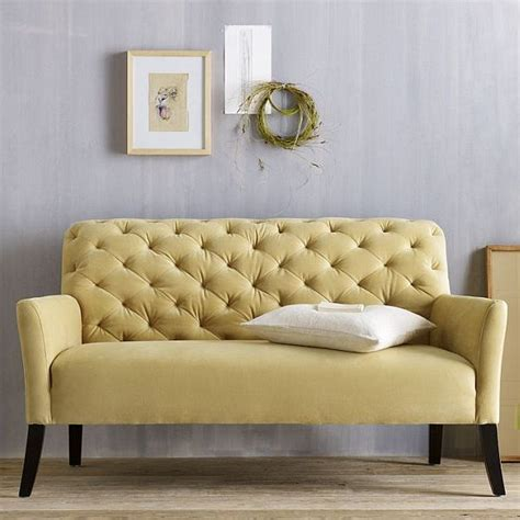 tufted settee loveseat the elton settee tufted yellow sofa