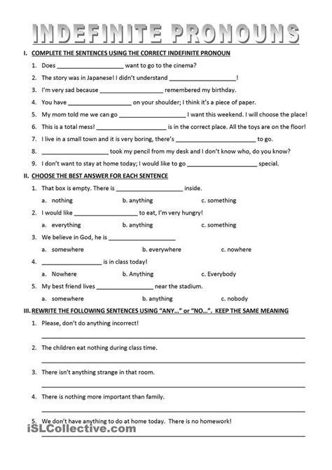 Pronoun Practice Worksheets High School