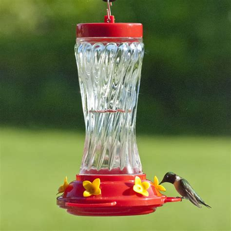 duncraft com 16 oz swirl glass hummingbird feeder