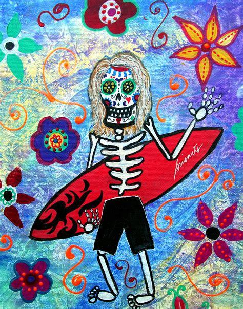 surfer dia de los muertos painting by pristine cartera turkus