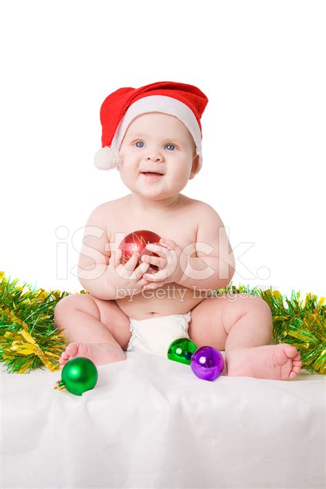 new born baby xmas photo baby in santa claus hat with balls stock photos freeimages