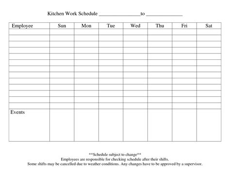 template of schedule printable employee schedule templates exle of