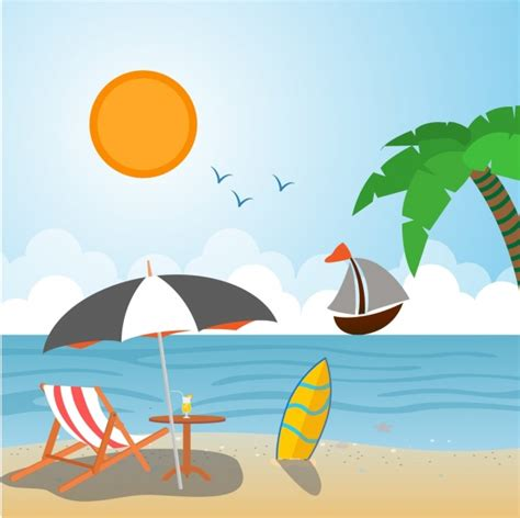 Summer Vacation Drawing summer vacation drawing scenery sketch colorful