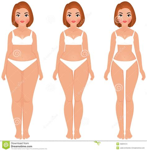 full frontal thin women fat to slim woman weight loss transformation front stock