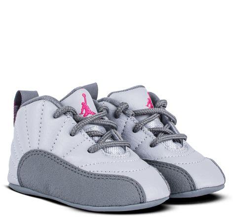 Baby Jordans Crib Shoes 378139 029 Air Retro 12 Xii Infant New Born Grey Pink Crib Sz 1c 4c Ebay