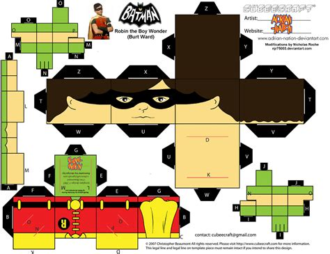Batman Papercraft - cubee batman 60 s tv robin by njr75003 deviantart on