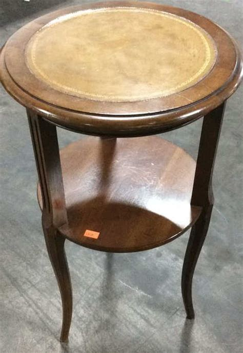 leather accent table atq tooled leather inlay top accent table