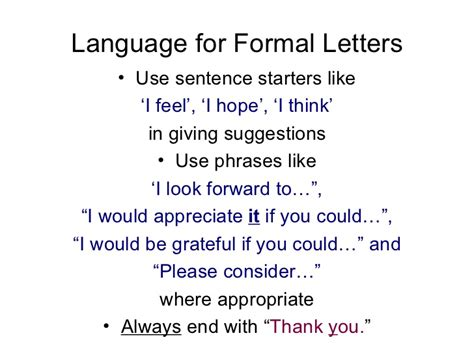 Official Letter Sentences Letters