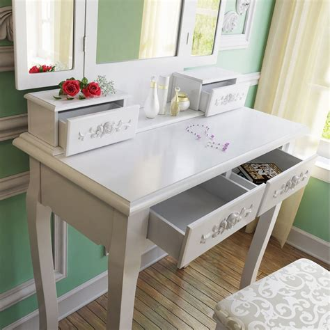 Wood Vanity Table And Stool by Tribesigns Wood Makeup Vanity Table Set With 3 Mirror And