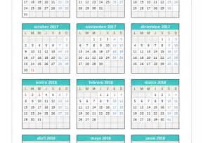 Calendario Quincenal 2017 Calendario 2017 2018 En Excel Planillaexcel