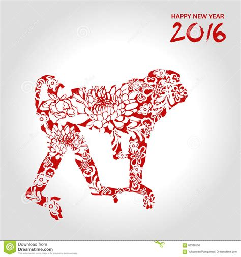 new year flower vector happy new year monkey with flower style vector